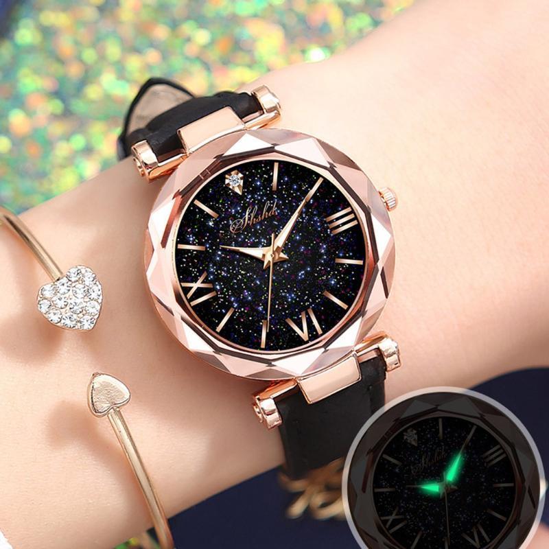 여성 팔찌 시계 손목 시계 유니섹스 별 작은 점 젖빛 벨트 시계 로마 스케일 릴로그 드 Mujer A50 손목 시계