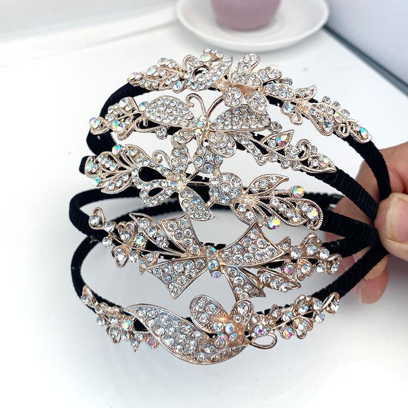Crystal Dama de honor para la diadema de la boda Princess Girls Rhinestone Accesorios para el cabello Adorno de la cabeza Adorno Cristal Mariposa Hairbands Flor Bandas de pelo