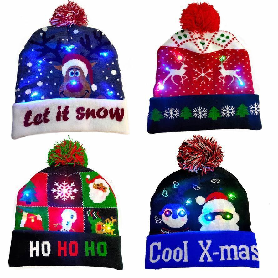 men Merry tree hats colorful santa LED christmas women knitted cap boys girls lantern party warmth hat with ball