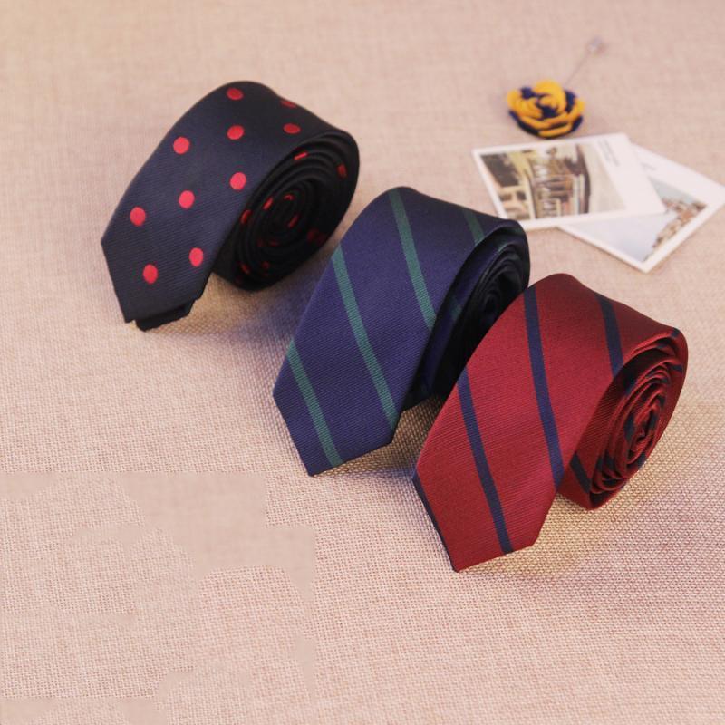 Mens Suit Çizgili Gravatas Için 5 CM Polyester Boyun Bağları Ince Sıska Cravat Düğün Kravat Aksesuar Özel Logo