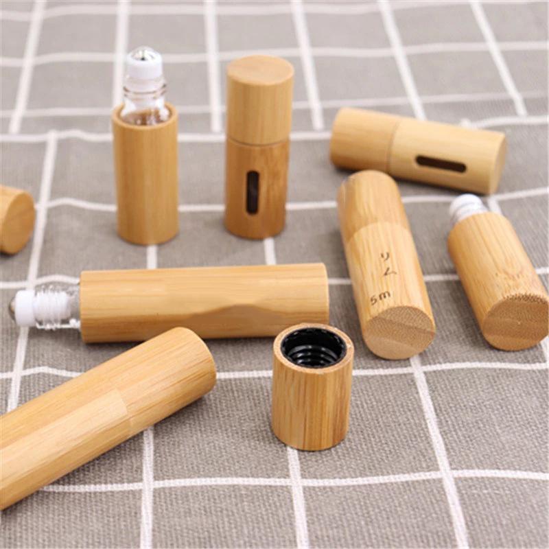 Tragbare Bambuswalze auf Flasche offen Fenster Kreativglas Ätherische Ölflaschen Mini Kosmetische leere Abfüllung GWF9233