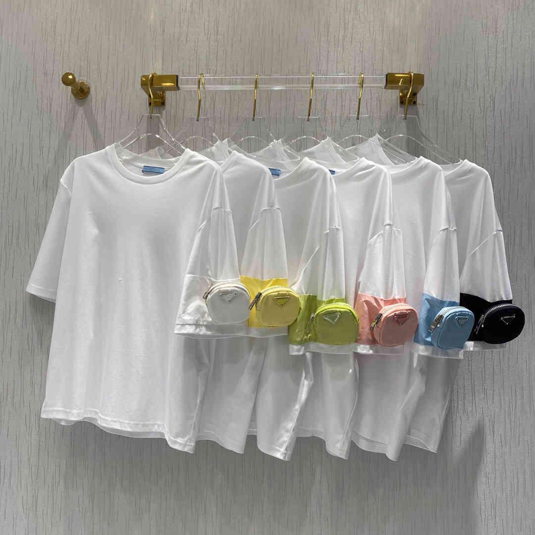 2021 Lüks İtalyan Tasarımcı Streetwear Rahat Boy Naylon Cep Dekore Tişört
