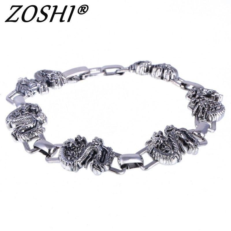 Charm de moda Pulsera Zoshi Men Brazaletes de acero inoxidable Masos Accesorio encantos Punk Dragon Hip Hop Party Rock Jewelry Bracelets N1