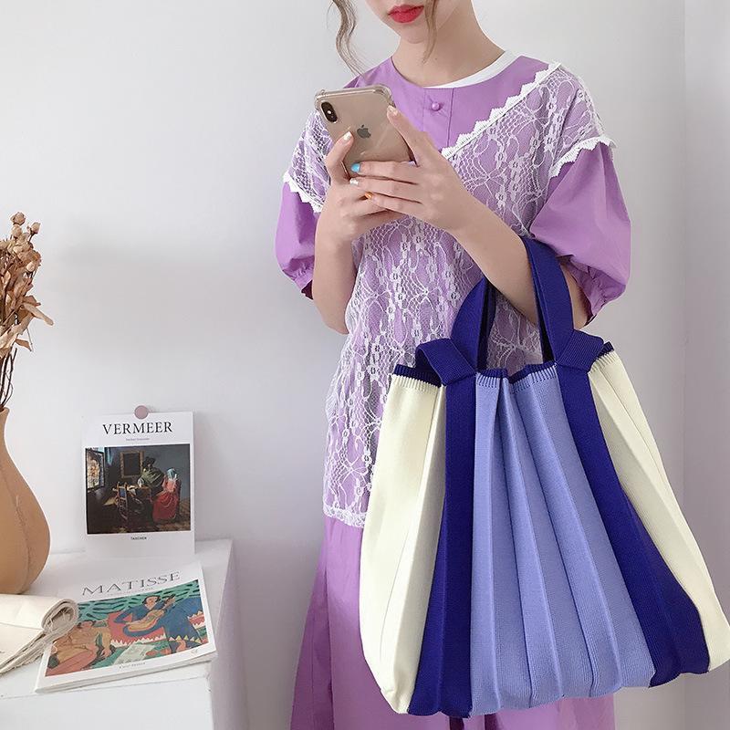 Novo outono e inverno mulheres sacos de ombro malha malha bolsa de ombro para menina grande capacidade mulheres bolsas retro moda feminina saco c0326