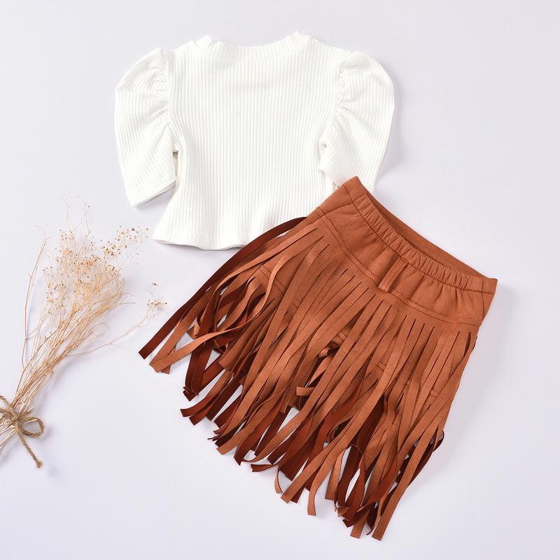 의류 세트 도매 봄 여름 소녀 2-PCS 화이트 짧은 소매 티셔츠 + 브라운 술 스커트 키즈 복장 E3003 5B2D