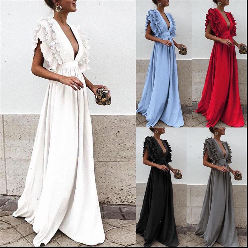 Damenkleider Rüschen fliegende Hülse Party langes Kleid Feste Farbe Dame Deep V Hals Hohe Taille Backless Hochzeit