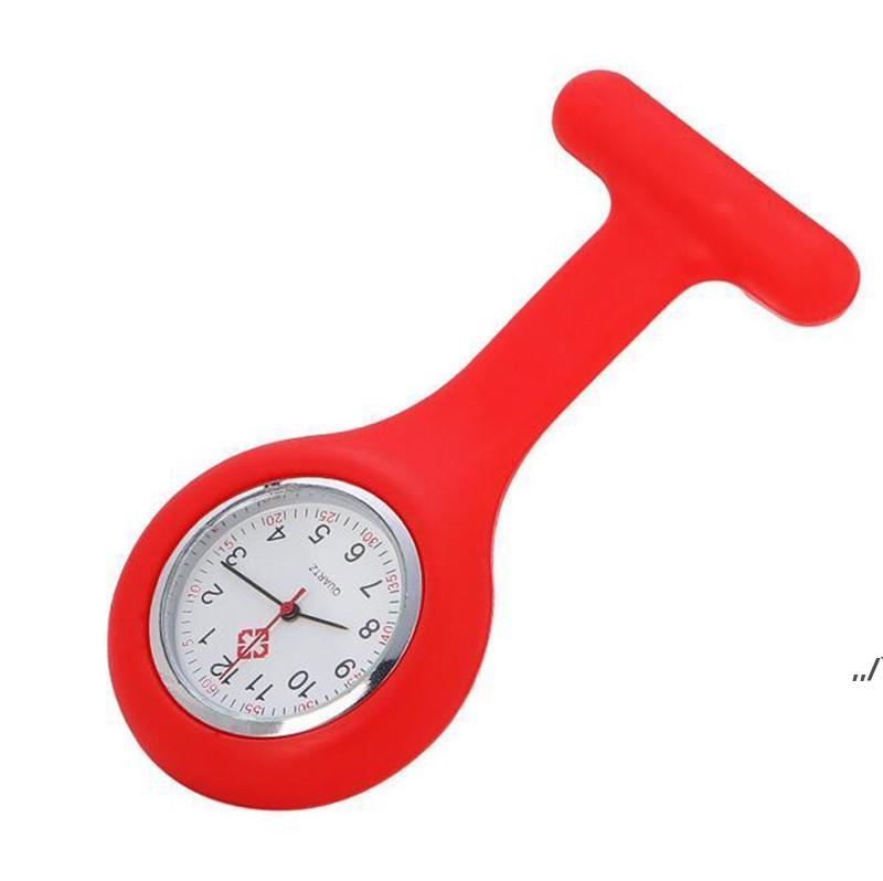 Natal presente enfermeira relógio médico relógio de silicone relógios de bolso moda enfermeira broche fob capa de túnica doutor silicone relógios de quartzo AHC6907