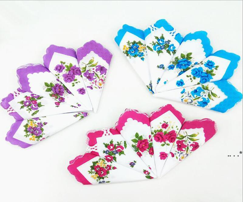 손수건 색상 초승달 인쇄 손수건 면화 꽃 hankie 꽃 수 놓은 손수건 다채로운 숙녀 포켓 수건 fwc6849