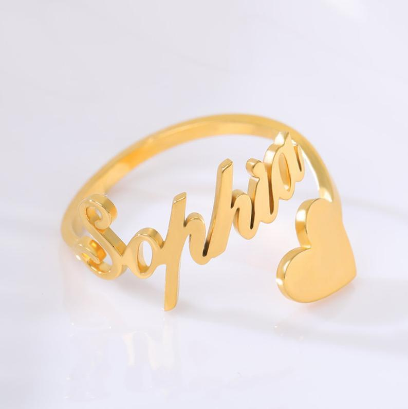 Gold Nom Personnalisé Bague Love Pair RVS Plaqué pour Mother to Girl Bijoux cadeau de mariage