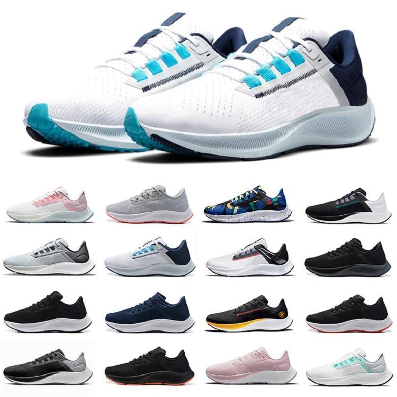 Nike Air Zoom Pegasus 38 رجل الاحذية منتصف الليل البحرية الجشع كيلي آنا الثلاثي الأبيض الأسود قرمزي الأزرق الشريط الأخضر الذئب رمادي الرجال النساء المدربين الرياضة أحذية رياضية