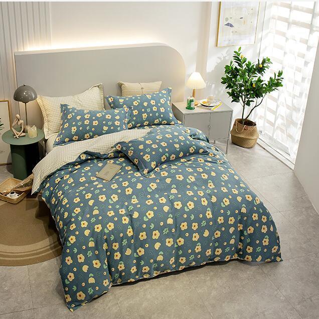 Bettwäsche-Sets reine Baumwolle verdickt und gemahlen vier Stück Set von einfachem 1 Bettblatt + Quiltcover 2 Kissenbezüge 4 Stück