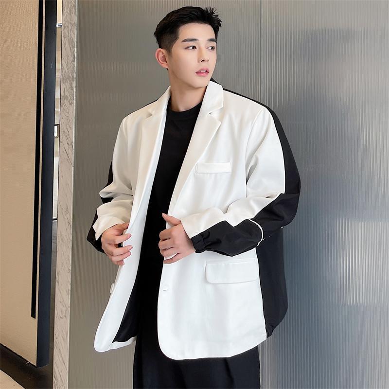 Men's Suits & Blazers Suit Coat Spring And Autumn Korean Casual Black White Color Design Splicing Loose Large Size Jacket