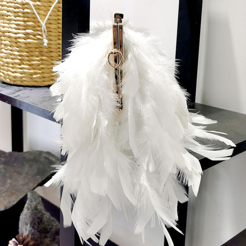Akşam Çanta Tasarımcı Parti Çanta Zarif kadın Tüyü Çanta Debriyaj Beyaz Inci Zincir Omuz FTB3101 SVKD
