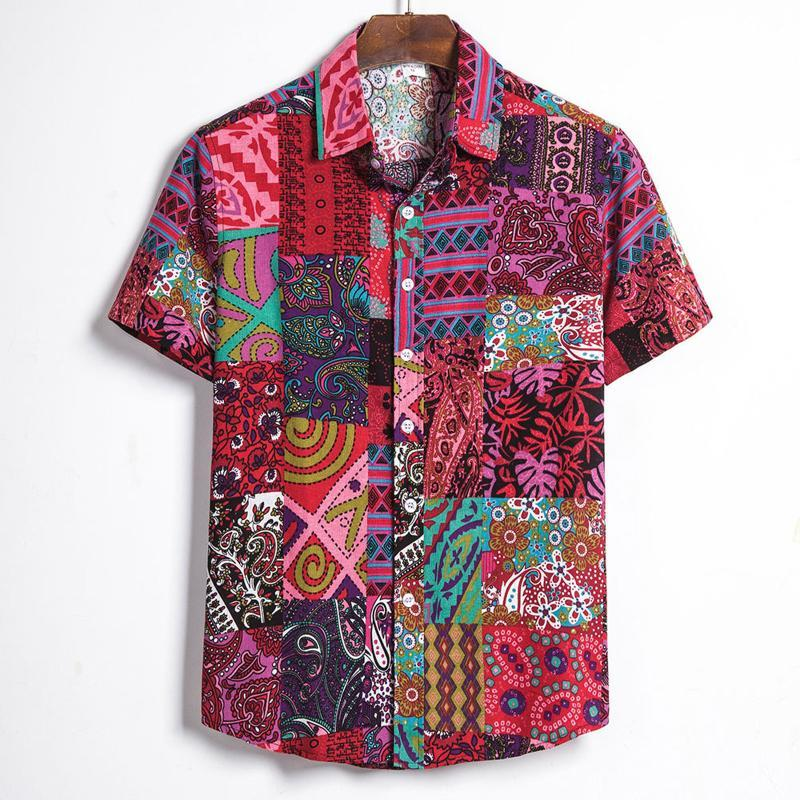 Мужские повседневные рубашки с коротким рукавом рубашка каникула гавайская кнопка красный напечатанный пляжные топы Camisa Masculina Plus размер