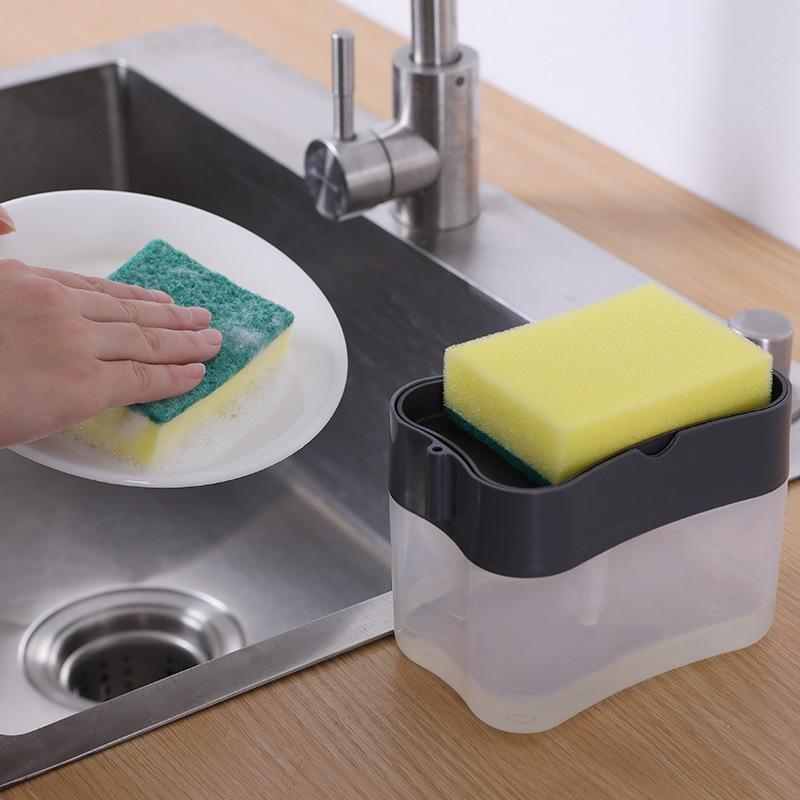 스폰지 홀더가있는 비누 펌프 디스펜서 액체 디스펜서 컨테이너 수동 프레스 비누 주최자 주방 클리너 도구 GWE9318