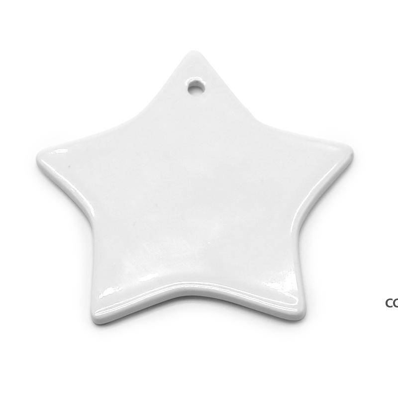 DIY Sublimation Blank Pendente in ceramica in ceramica ceramica arti e artigianato ornamento trasferimento termico rotondo decorazione natalizia DHF8859