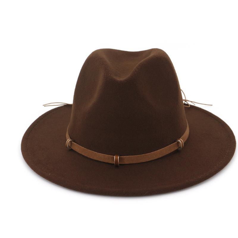 레트로 남자 여자 양모 페도라 모자 와이드 브림 재즈 레이디 겨울 가을 매혹적인 크기 56-58cm 모자
