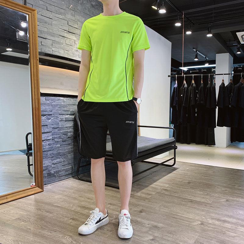 Erkek Eşofman Erkek Tracksuitsquick Kurutma Takım Kısa Kollu T-shirt Eğlence Spor Takım Elbise Erkek Yaz Trend Genç Lisesi Öğrencileri TZ130P35