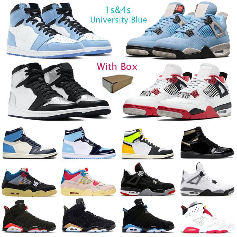 농구 신발 Mens 트레이너 1S University Blue 4s Fire Red 5s 6S 카민 블랙 적외선 11S 25 주년 기념 스포크 스니커즈