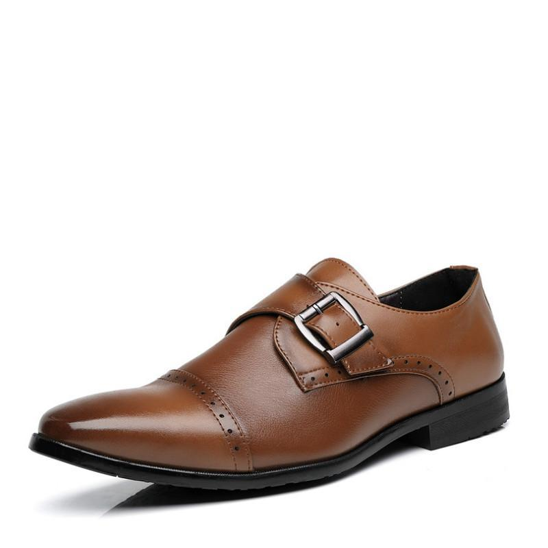 Elbise Ayakkabı Plyx 2021 Brogues Erkekler Kahverengi / Siyah Sivri Burun Deri Erkek Yüksek Topuklu Örgün İş 38-48