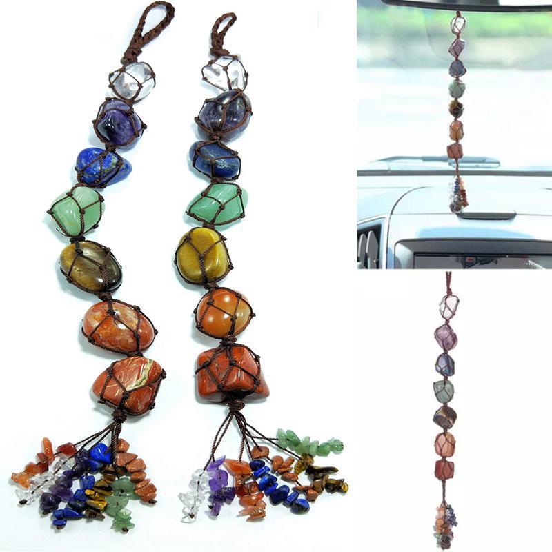 Natural Chakra Crystal Stone Car Pendant 7 Chakras Tumbled Bracelet Tassel Hanging Ornament Stones