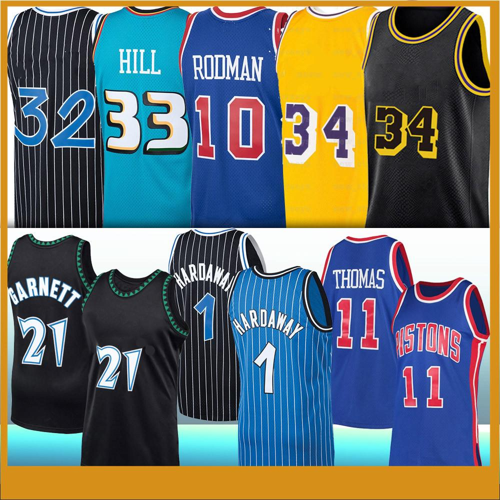 Tim 1 Hardaway Kevin 21 Garnett Dennis 10 Rodman Isiah 11 Thomas Grant 33 Hill Retro College Basketball Jersey