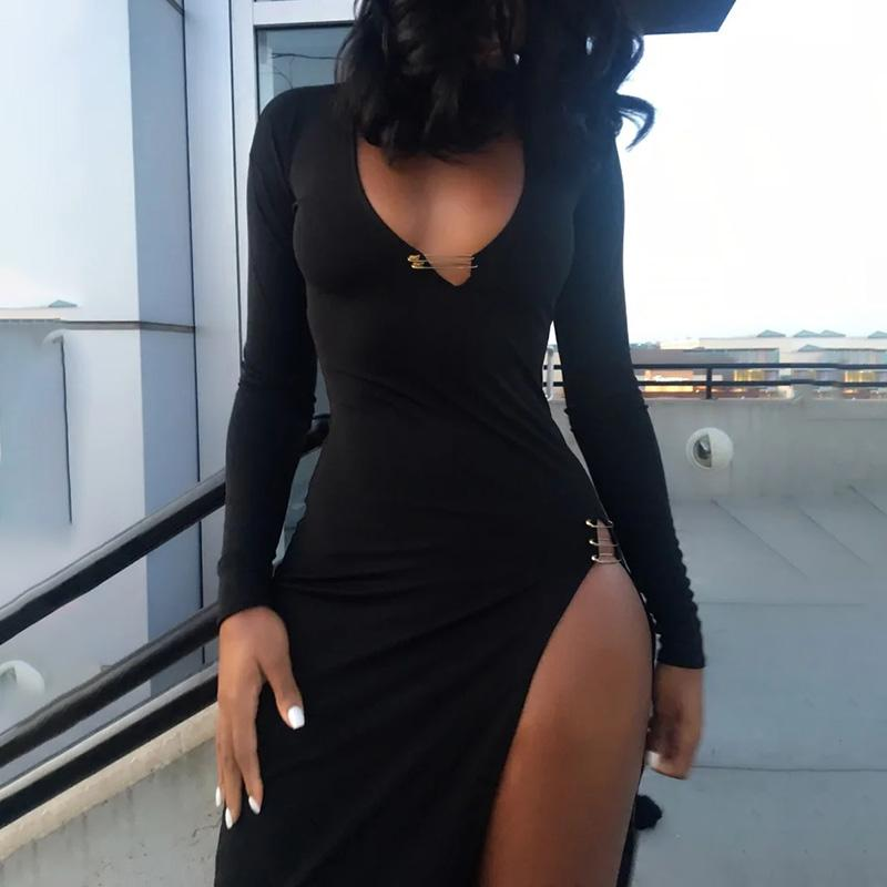 Wnnthis manches longues robe mid-clf ourlet col en v