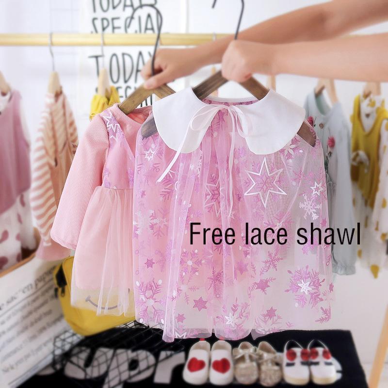 아기 드레스 봄 가을 코튼 키즈 소녀 옷 + 레이스 목도리 슈트 파티 의류 1 년 생일 드레스 Sukinka Zestawy Girl 's