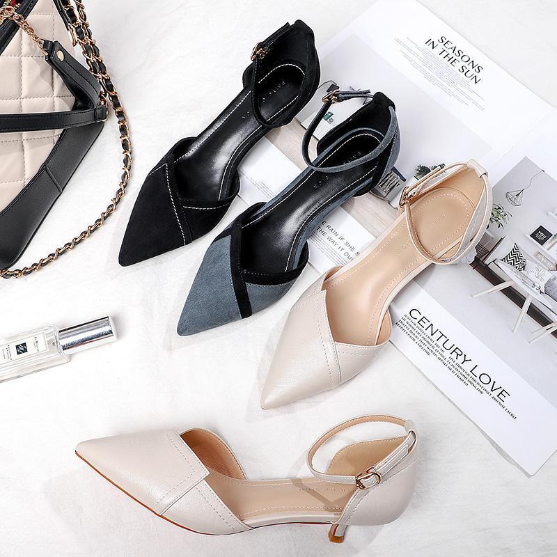 Тапочки пэчворк тонкий низкий каблук двухсекционный ремешок лодыжки сплошные белые синие черные насосы элегантные туфли 2021 женщины сексуальные каблуки женские