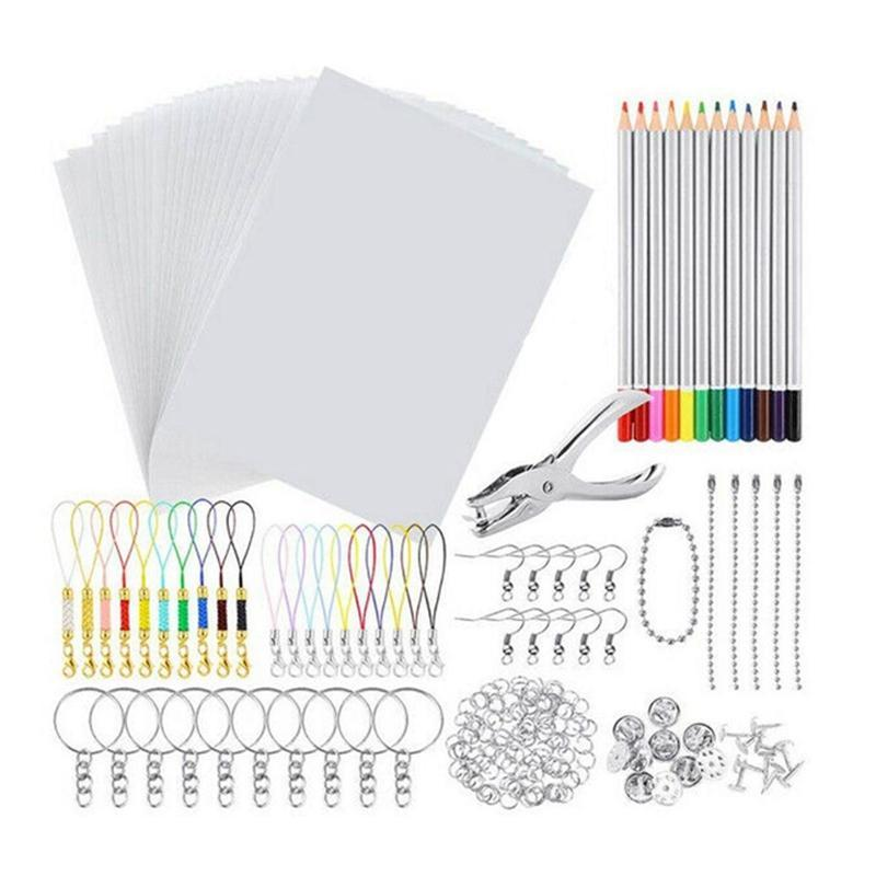 Shrinky Art Paper Heat Shrink Sheet Plastic Kit Hole Punch Keychains Pencils DIY Drawing Supply Jewelry Pouches, Bags
