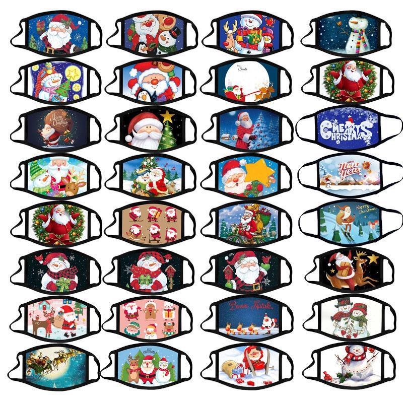 Mascarilla de la cara de la Feliz Navidad Customed Creatividad Moda Dibujos de Impresión Mascarillas Impresión de polvo Reutilizable Reutilizable Navidad Boca Máscara para adultos6z1g