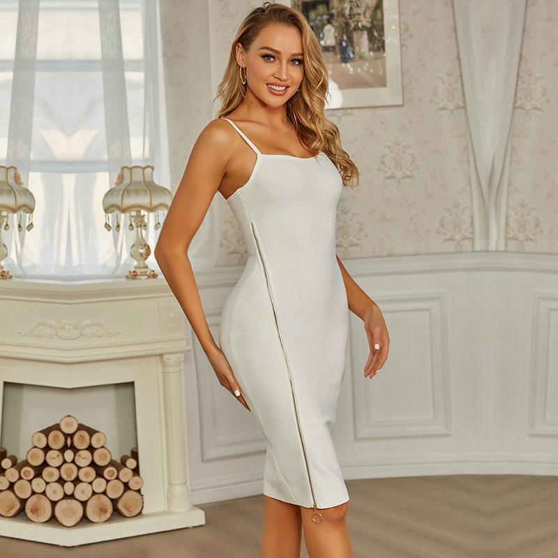 Günlük Elbiseler Swtao Kadınlar Moda Seksi Kolsuz Tasarımcı Beyaz Bandaj Elbise 2021 Bayanlar Fermuar Bodycon Akşam Kulübü Parti Vestidos