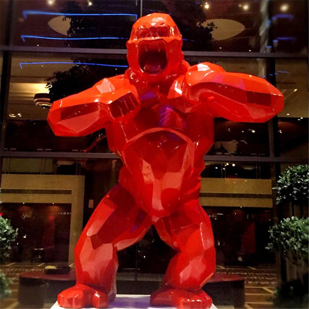 Criativo King Kong Sala de estar Decoração Gorilla Escultura Geométrica Moderna Estátua Presente Aniversário Para Casamento Caixa Collectible 210318
