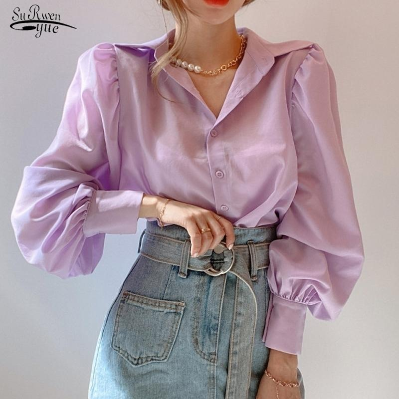 Coreano Solto Chique Mulheres Blusa Simples Versátil Lapela Camisa de Manga Longa Camisa Elegante Camisa Tops Pink Tops Blusas Mujer 12492 210320