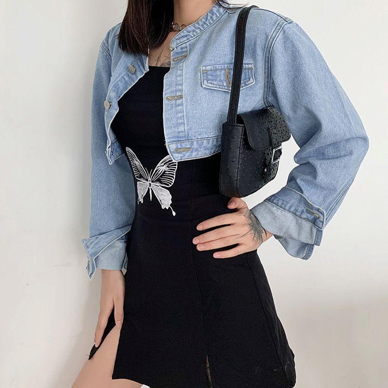 Femme's Mode Y2K Denim Denim Femmes Automne 2021 Manches longues sans dos Jacket Jean Streetwear Outwear