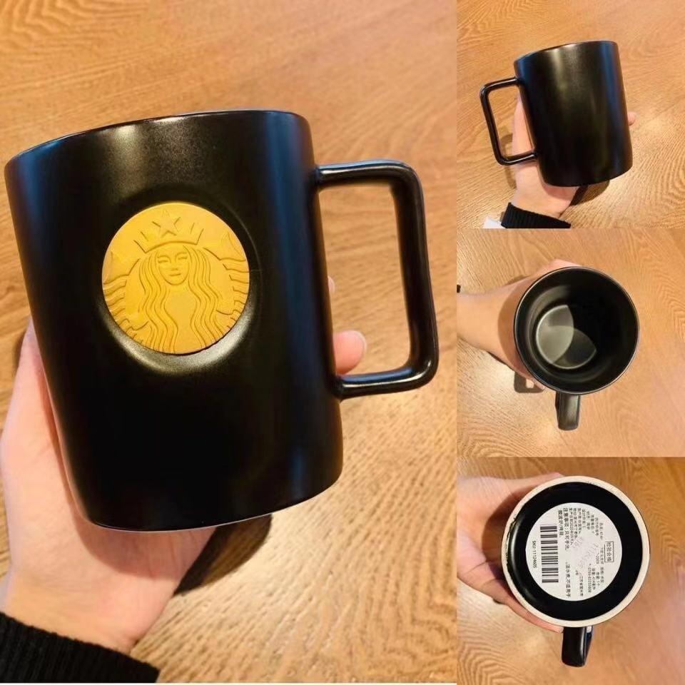 2021 Starbucks Coffee Black Cerámica Taza Taza de agua 473ml con Sujetador de agitación Fábrica de suministros directos Producto de regalo