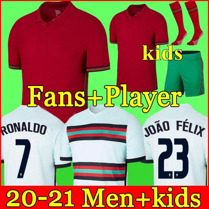 2021 maillot de football RONALDO Portugal BRUNO FERNANDES JOAO FELIX NEVES BERNARDO CANCELO EURO 2020 maillot de football national 20 21 uniformes pour hommes et enfants