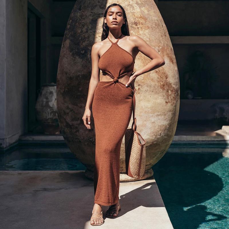 فساتين للحزب فساتين طويلة الصيف النساء في الهواء الطلق محبوك اللباس بسيط بلون جوفاء أزياء الشمس الحماية
