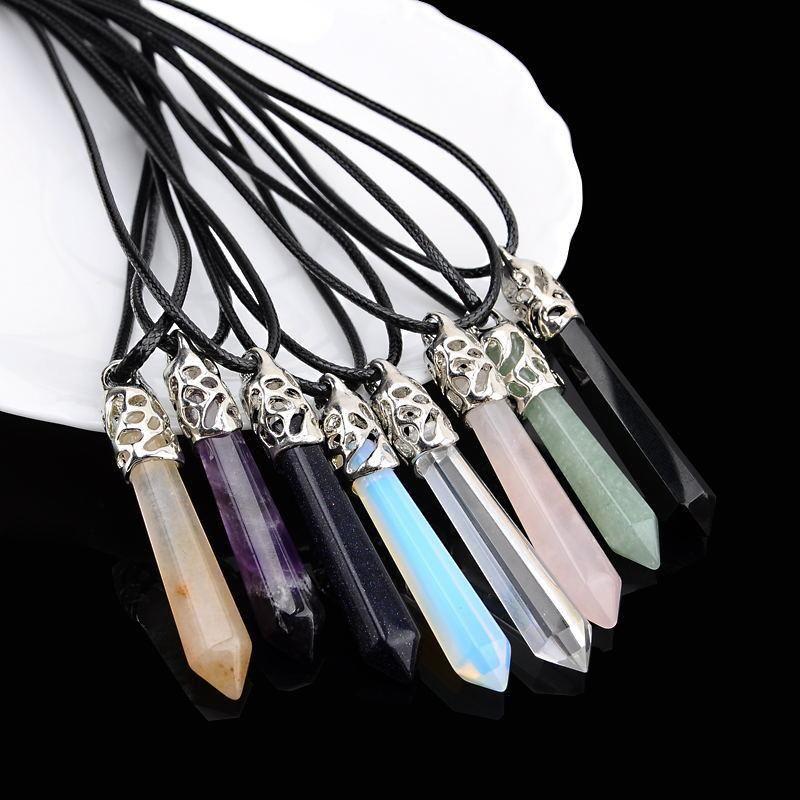 Anhänger Halsketten Natürliche Kristall Stoen Halskette Edelstein Sechseck Nacken Pfosten Pullover Kette Schmuck Zubehör