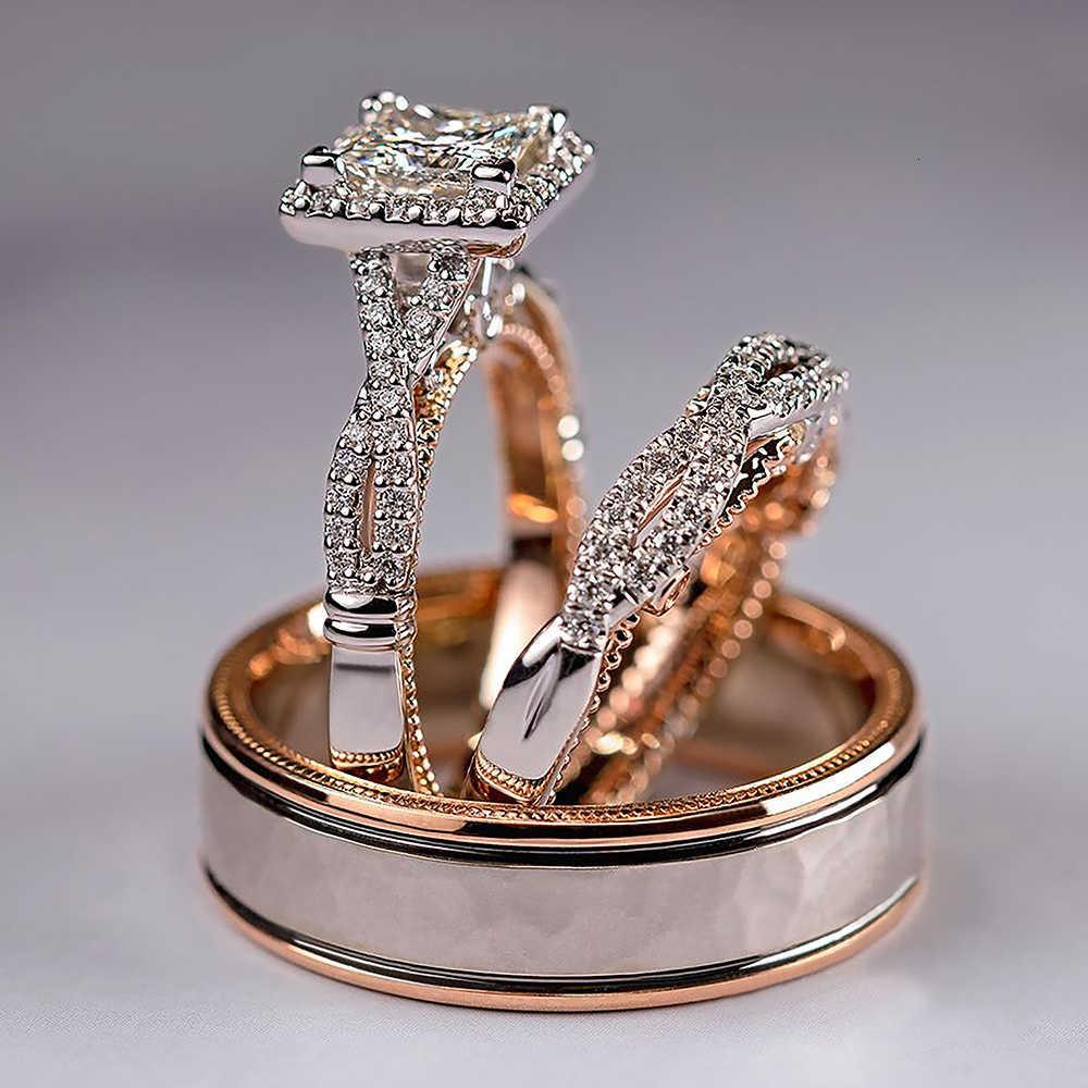 Huitan Luxury Princess Cut Cubic Zircon Anillos de matrimonio nupcial 3pc / Set Accesorios elegantes Mujeres Brillantes Boda Joyería de moda