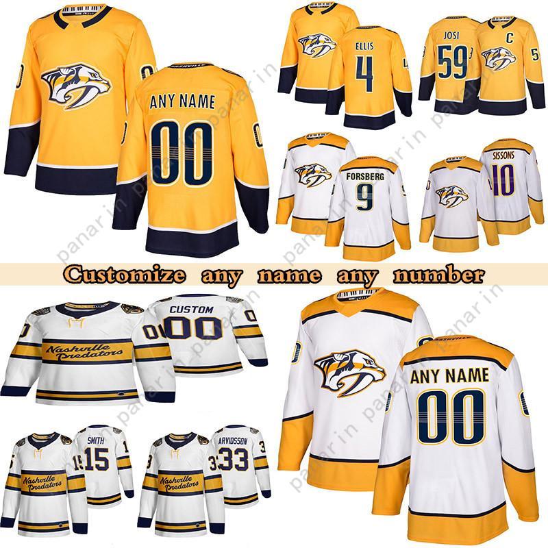 Personalizado Nashville Predators Hockey Jerseys 59 Roman Jos 9 Filip Forsberg I 4 Ryan Ellis 35 Pekka Rinne Qualquer número e nome