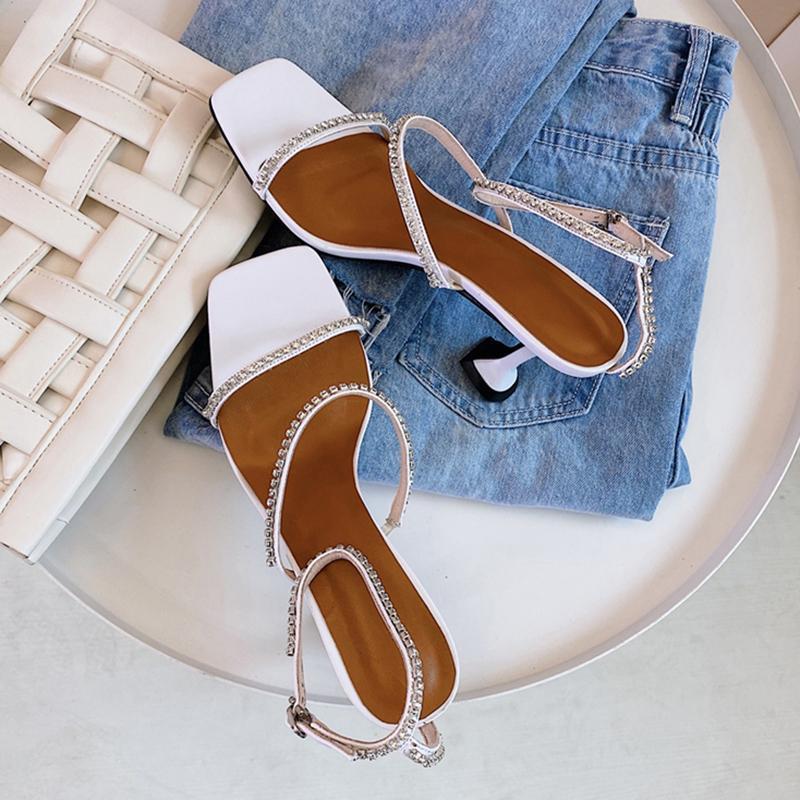 Sexy Puntige Enkelbandje Vrouw Fashion Rhinestone Square Stiletto Shoes Met Hoge Hakken Dames Hak Bruiloft Sandals