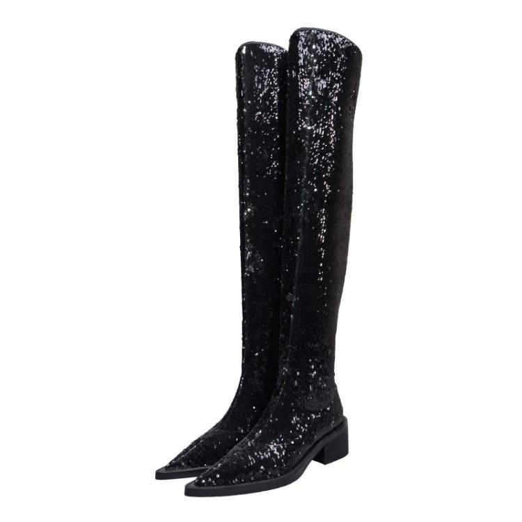 Boots Bota Feminina Winter Autumn Woman Black Glitter Leather 60CM Long Thigh High Over The Knee Booties Motorcycle Shoes