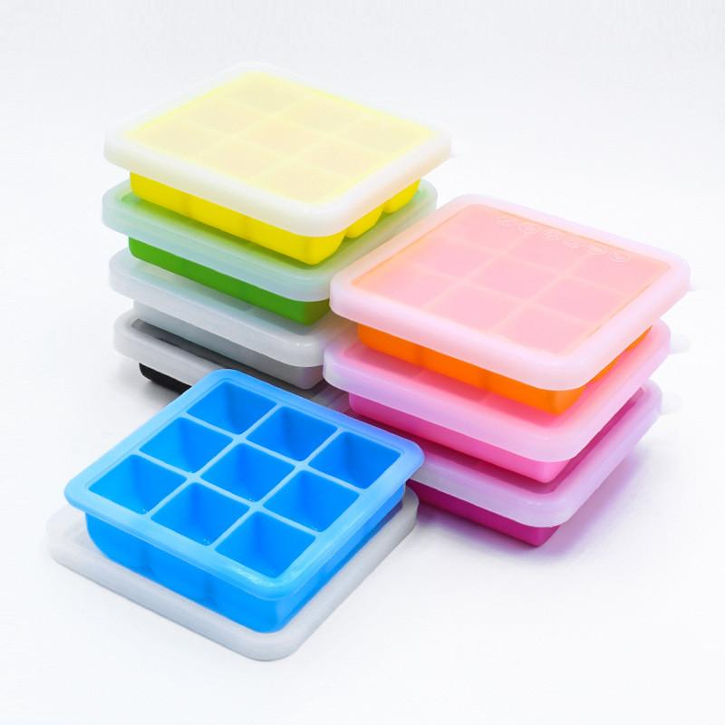 Bandeja de cubo de gelo com tampas Bar de cozinha 9 grades quadrados de silicone de grau de alimentos diy ices mofo