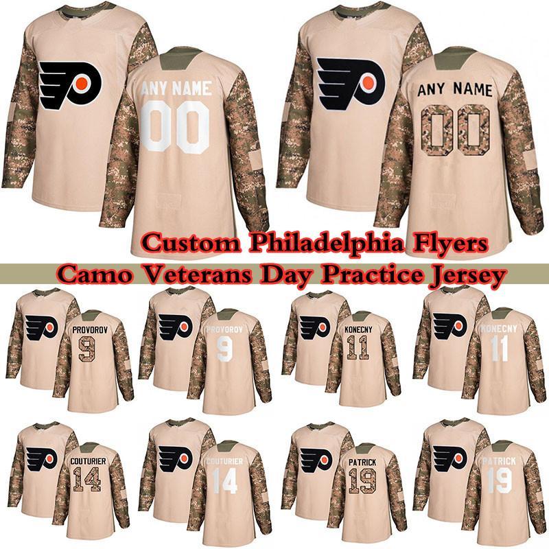 Custom Camo Veterans Day Practice Philadelphia Flyers Hoskeys Jersey 79 Carter Hart 13 Kevin Hayes 9 Ivan provorov 11 Travis KoneCny Qualquer número e nome