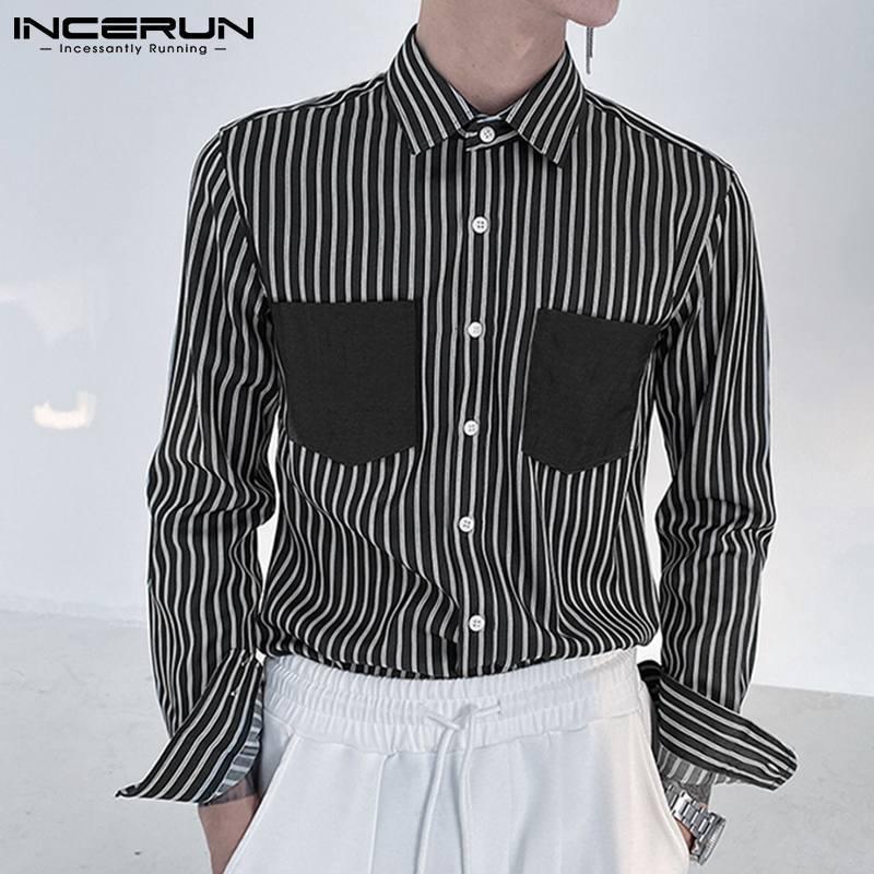 2021 Patchwork de primavera manga longa homens camisas casuais moda curtir colarinho listrado camisa homem lazer botão blusa 5xl