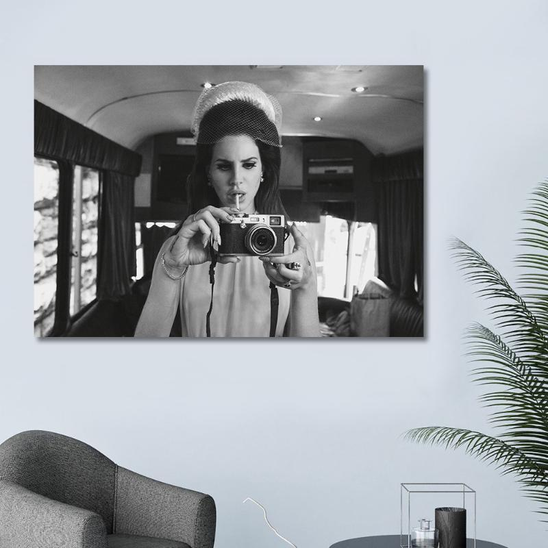 Tuval Boyama Baskı Modüler Poster Duvar Yapıt Siyah Beyaz Karakterlerin Portresi Lana Del Rey HD Resim Yatak Odası Ev Dekor Resim Sergisi