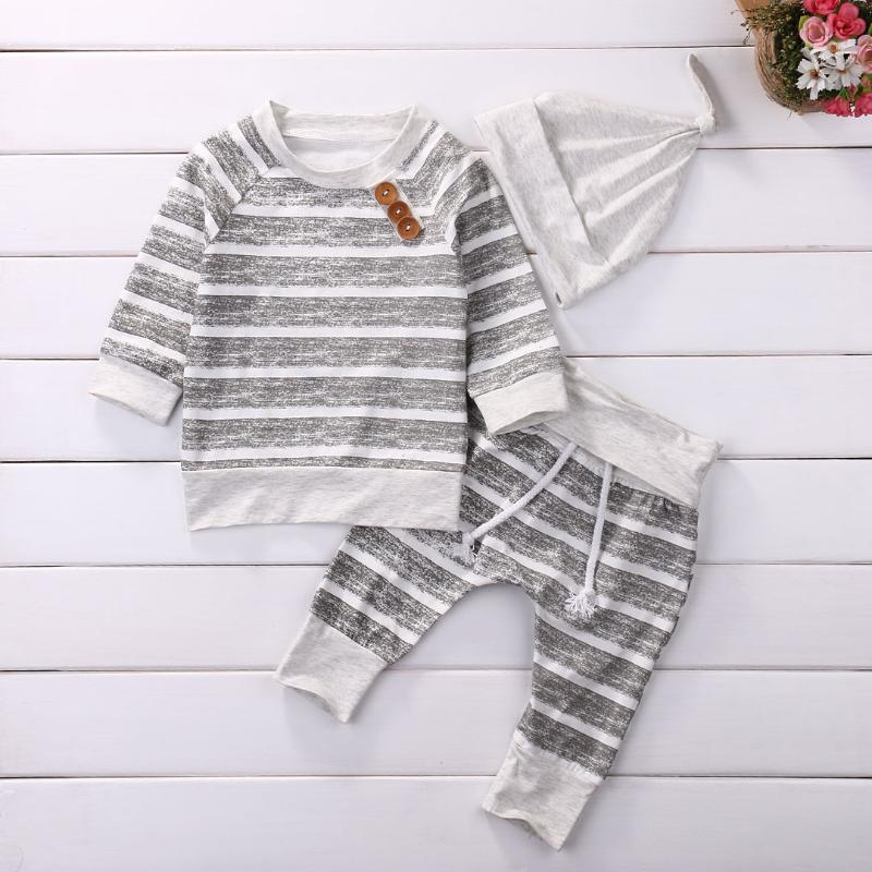 Clothing Sets Cute 3pcs Born Baby Boys Clothes Set Fashion Striped Long Sleeve Tops T-shirt+Pants+Hat Outfit Boy Girl Outfits