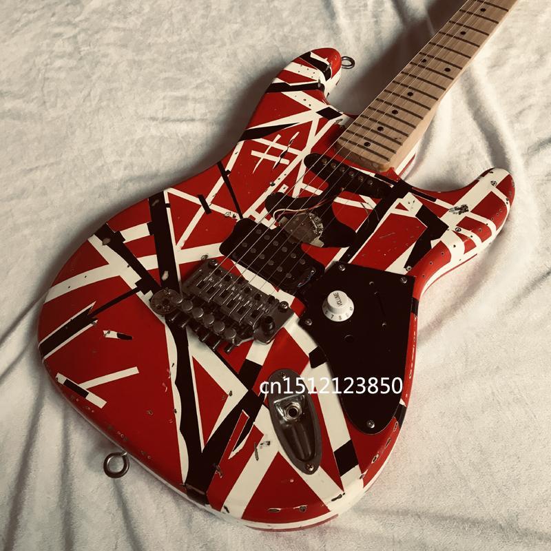 Eddie Van Halen 82 Frankenstrat Guitar Electric Guitar / White Black Stripe / Heavy Marked /