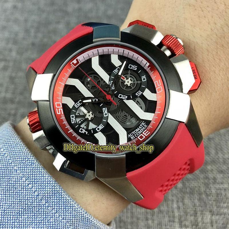 Eternity Sport Relógios RFF Epic X Chrono CR7 Preto / Branco Skeleton Dial Japão VK Quartzo Chronograph Movimento Mens relógio de borracha vermelho alta qualidade
